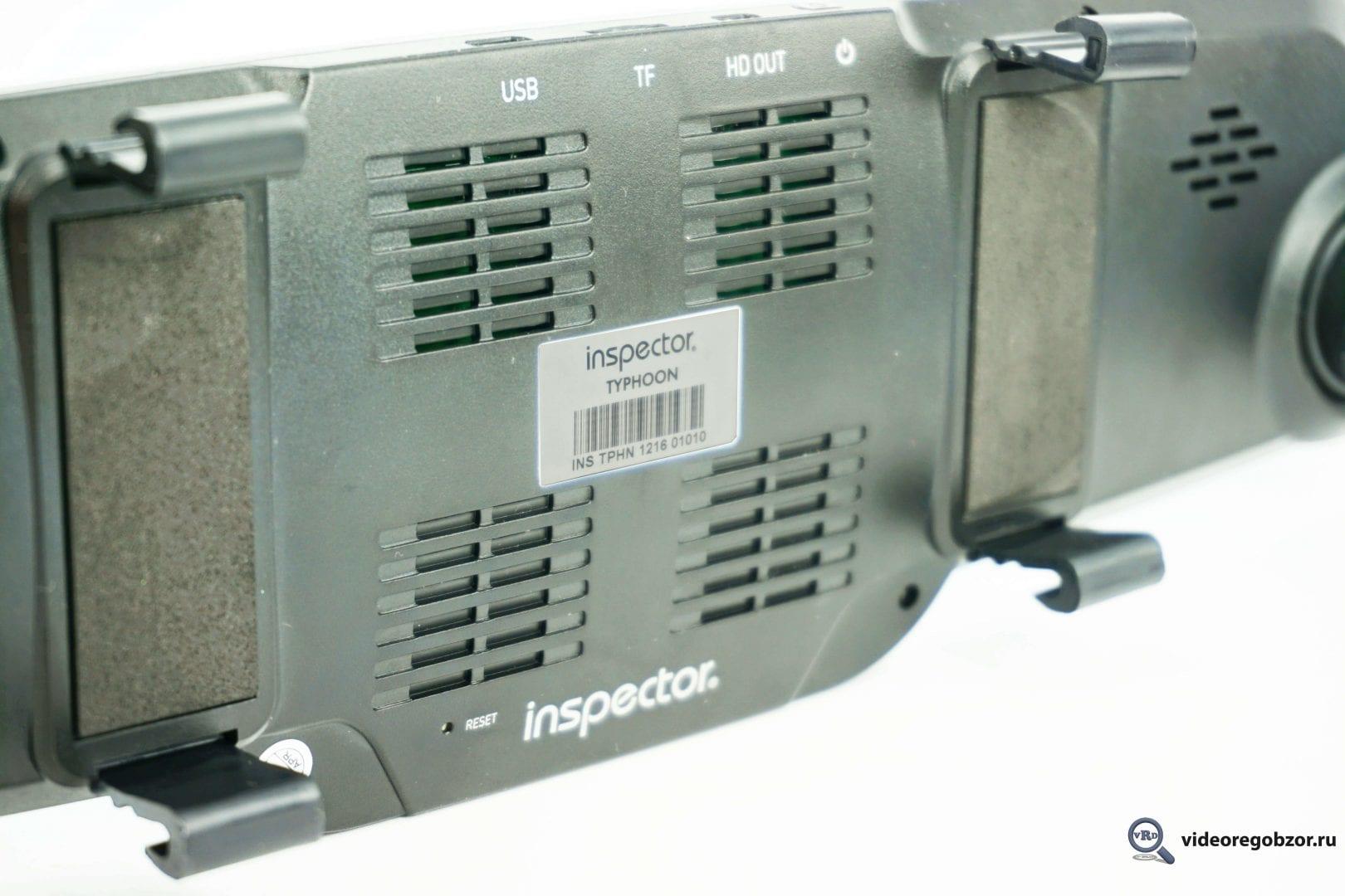 ОбзорвидеорегистратораввидезеркалаInspectorTyphoonсGPS модулемибазойкамер