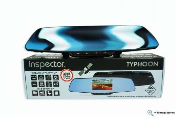 obzor videoregistratora v vide zerkala inspector typhoon s gps modulem i bazoy kamer